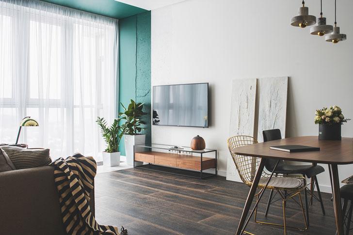 Роскошная квартира в оттенках зеленого
